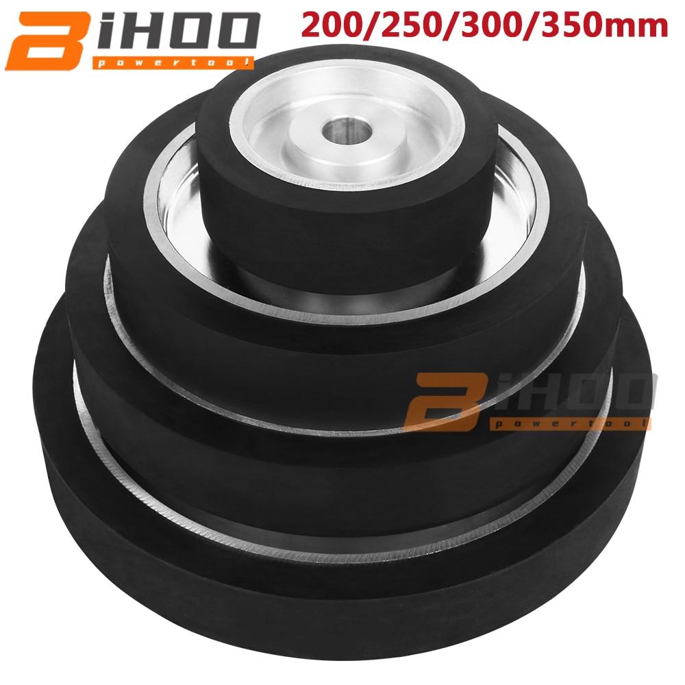 200/250/300/350mm Flat Rubber Contact Wheel Belt Grinder Parts Grinding Belt Set 50mm Thickness 25.4mm Bore
