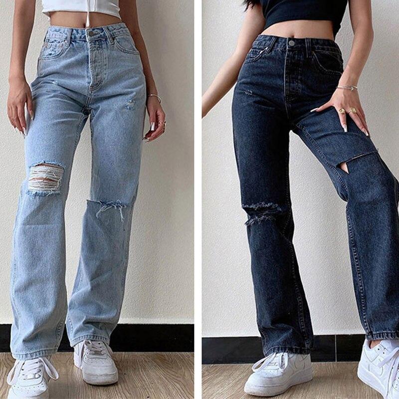ممزق الجينز للنساء الأزياء واسعة أرجل غسل المياه ممزق عارضة منتصف الخصر فضفاض الجينز الشارع الشهير Pваные джинсы женские