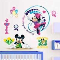disney mickey minnie gymnastics sports wall stickers bedroom nursery home decorations cartoon wall decals pvc mural art posters