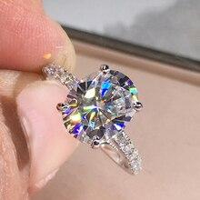Di lusso 925 Anello Dargento 1ct Ovale Cut 2ct 3ct GH Colore moissanite gioielli regalo di Anniversario anello di Fidanzamento