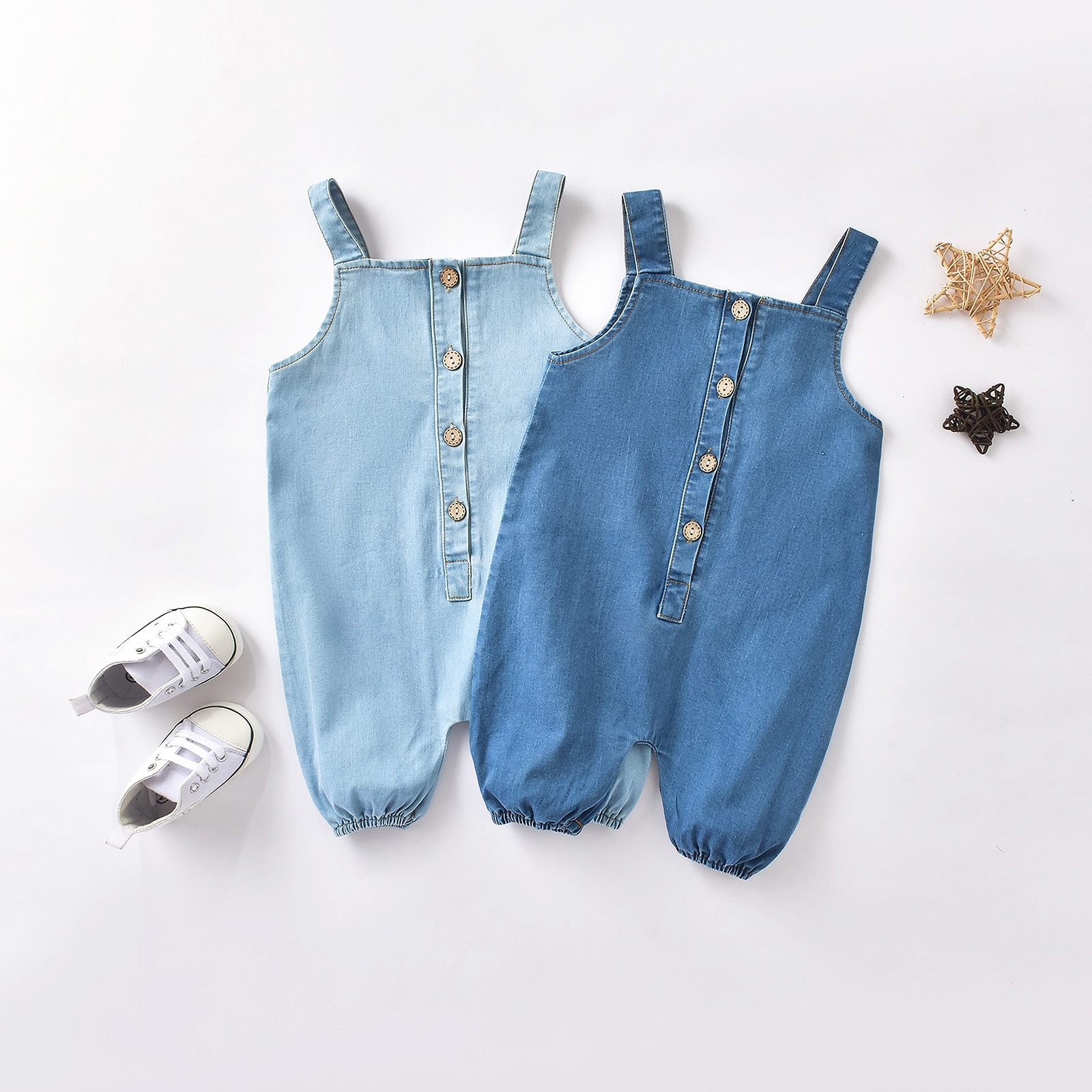 Ins Baby jumpsuit boys and  girls denim out vest crawl  baby boy outfit  romper  newborn girl clothe