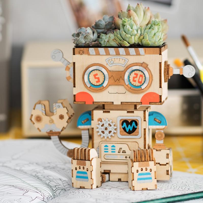 Popular maceta de flor de rompecabezas de madera 3D DIY suculenta decoración de montaje en maceta Regalo de Cumpleaños modelo NDS