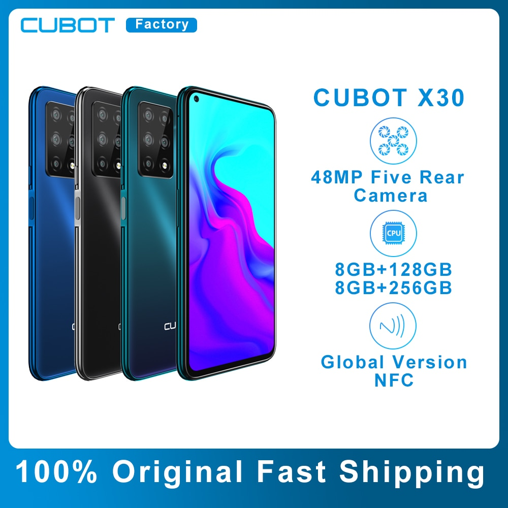 Чехол для CUBOT X30 мобильный смартфон 4g глобальная лента пять задний AI Камера 256GB смартфон Nfc 6,4 дюйм Fullview Дисплей Android10 сотовый телефон