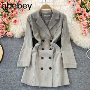 2021 New Spring Autumn Korean turn down collar long sleeve Dress double breasted high waist mid-length A-line suit Dress