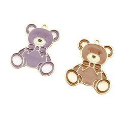 10 pçs 23x27mm urso esmalte charme para fazer jóias e crafting brinco pingente pulseira colar bonito encantos acessório da forma