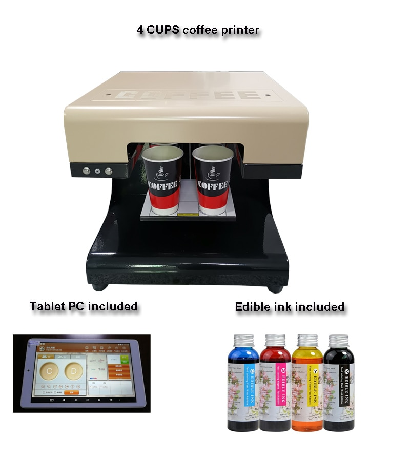 The lastest  3D 4cups Selfie  Edible foam milk  coffee printer machine for free send 4*100ml one set edible ink