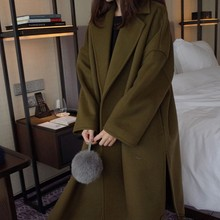 Winter Long Coat Women Solid Color Long Sleeve Plus Size Pockets Decoration Coat Korean Style Green Lapel Women's Clothing