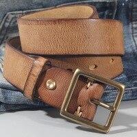 Vintage 100% cowhide high quality retro non-interlayer natural leather Copper buckle men\'s belt jeans casual pants belt