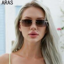 Classic Trendy Men Women Rimless Gradient Retro Sunglasses Fashion Small Rectangle Sunglasses Travel