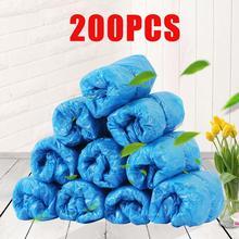 200Pcs Shoe Covers Disposable Shoe Covers Waterproof Boot Shoe Covers Dustproof Overshoes Blue Plast