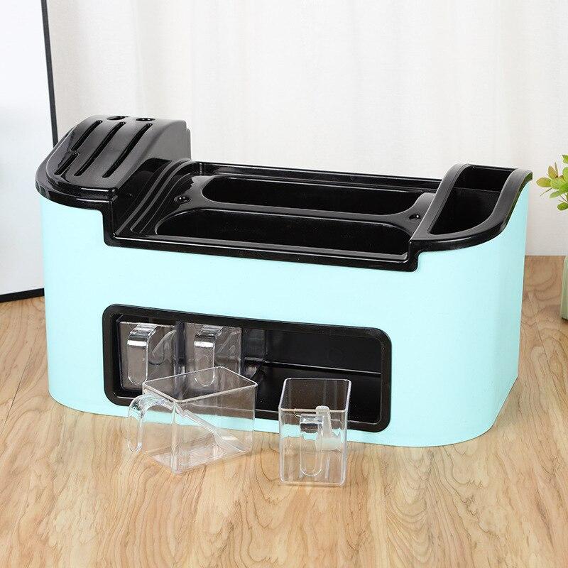 متعددة الوظائف صندوق تخزين التوابل المطبخ لوازم شفافة مقصورة الغبار غطاء الوجه مريحة صندوق تخزين