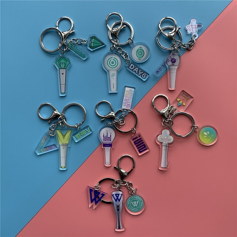 KPOP Shinee DAY6 VICTON Support Lamp Surrounding Keychain (G)I-DLE Winner Pendant Keyring Hot Sale