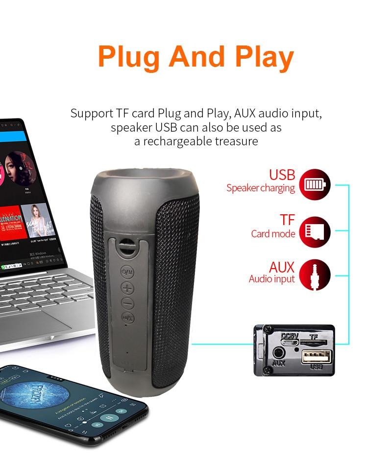 FM Portable Bluetooth Speaker 20W Wireless Bass Column Waterproof Outdoor USB Speaker Support AUX TF Subwoofer Loudspeaker TG117 enlarge