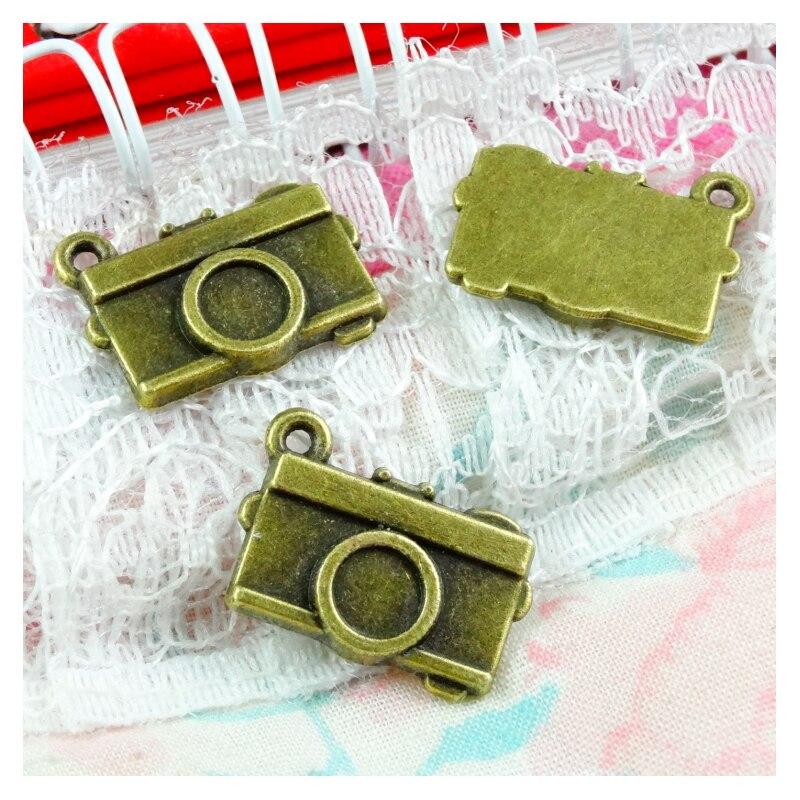 50 Uds 18*13MM pendientes de cámara Vintage encanto para la fabricación de joyas Color bronce antiguo pendientes de cámara encanto Cámara