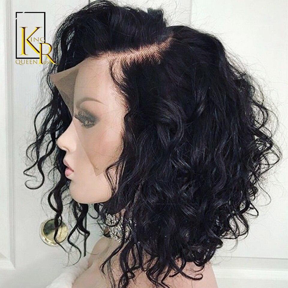 Pelucas de cabello humano rizadas con encaje frontal para mujeres negras, línea de pelo Natural Pre desplumado con cabello de bebé, peluca de pelo Remy brasileño Bob corto