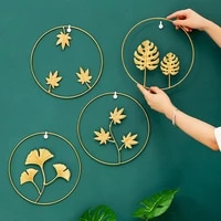 nordic style wall hanging decoration leaf shape iron art creative retro round wall shelf decorative for bedroom living room