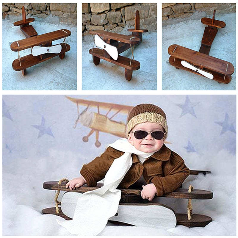 Baby Photography Props Posing Props Baby Shoot Accessories Wood Retro Plane  Baby Posing The Hundred Day Photo Creative Props
