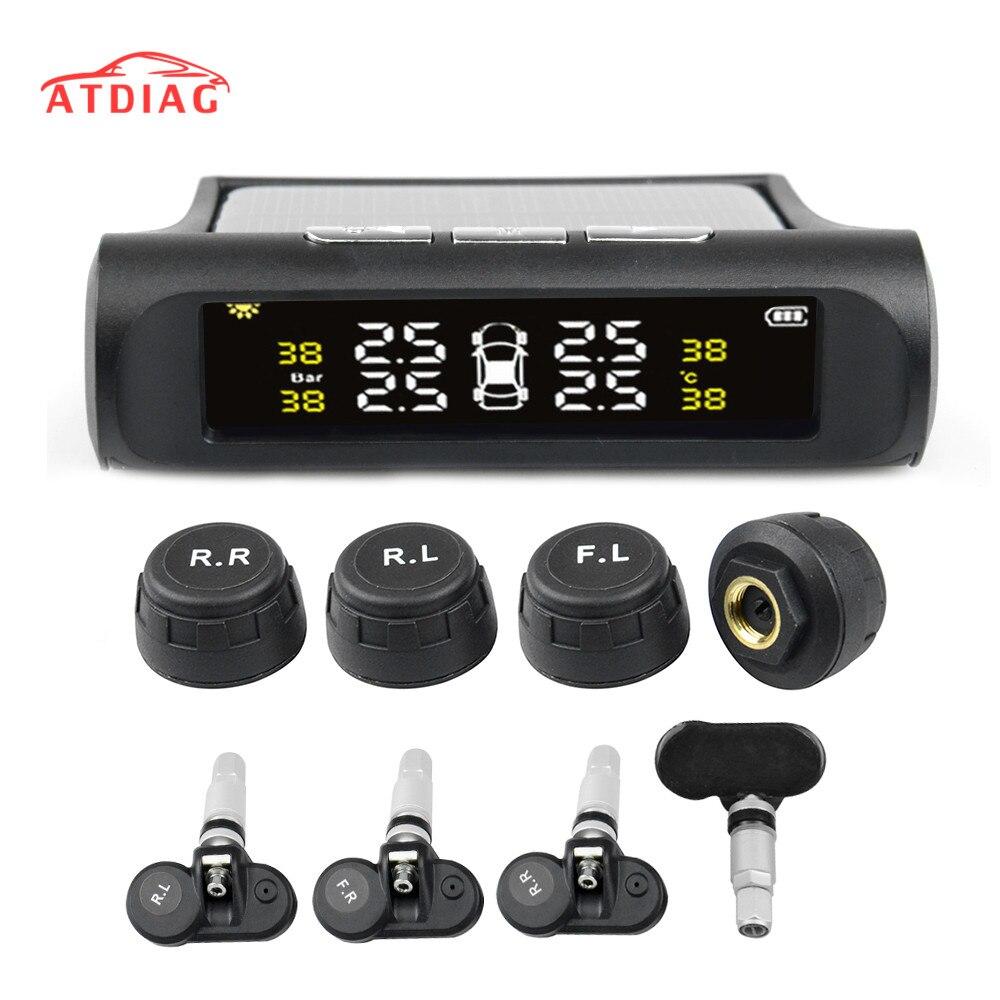 Solar alimentación USB TPMS de monitoreo de presión de neumáticos de coche sistema LCD 4 externa/los sensores internos para SUV de advertencia de temperatura