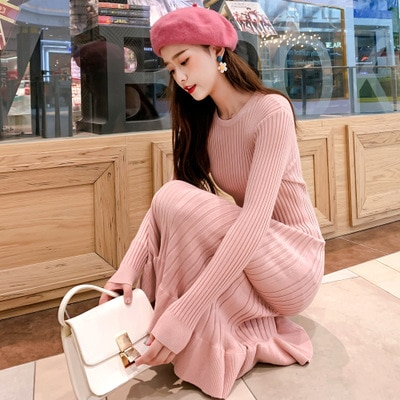 Thicken Warm Knitted Maternity Sweaters Dress Autumn Winter Fashion Large Size Loose Pullovers for Pregnant Women Pregnancy enlarge