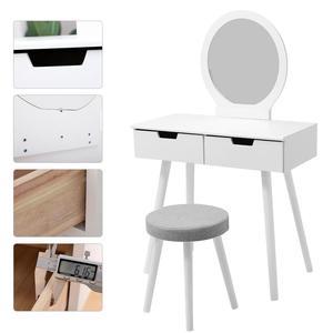 NEW Modern Makeup Vanity Dressing Table With Chair Set Vanity Makeup Wooden For Bedroom Storage Vanity Desk Cushioned Stool HWC
