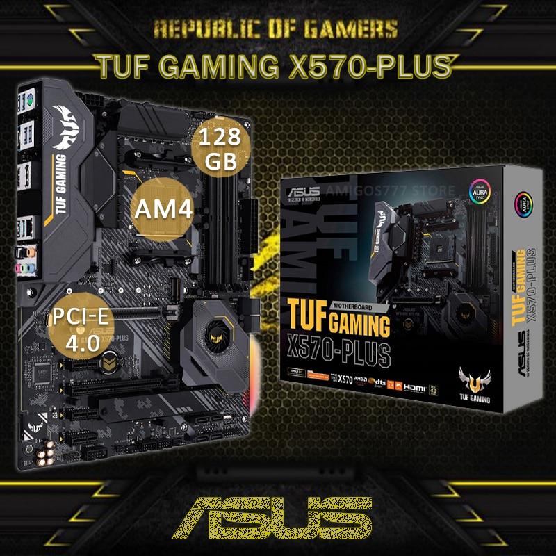Socket AM4 Asus TUF GAMING X570-PLUS Motherboard PCI-E 4.0 DDR4 128GB Display Port RGB AMD Ryzen CHAI X570 Gaming Placa-Mãe am4