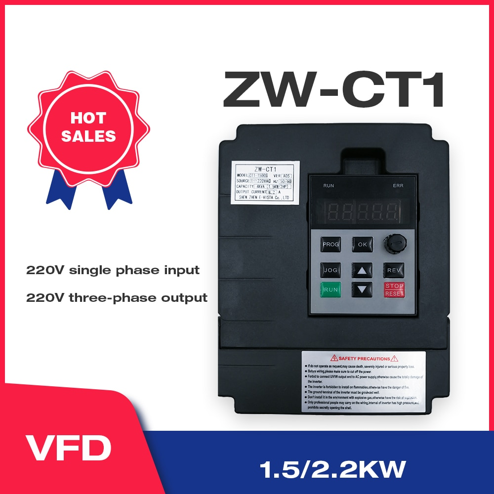 VFD العاكس رد Freqency تحويل 1.5KW/2.2KW متغير تردد سرعة المحرك PWM التحكم CT1 شحن مجاني