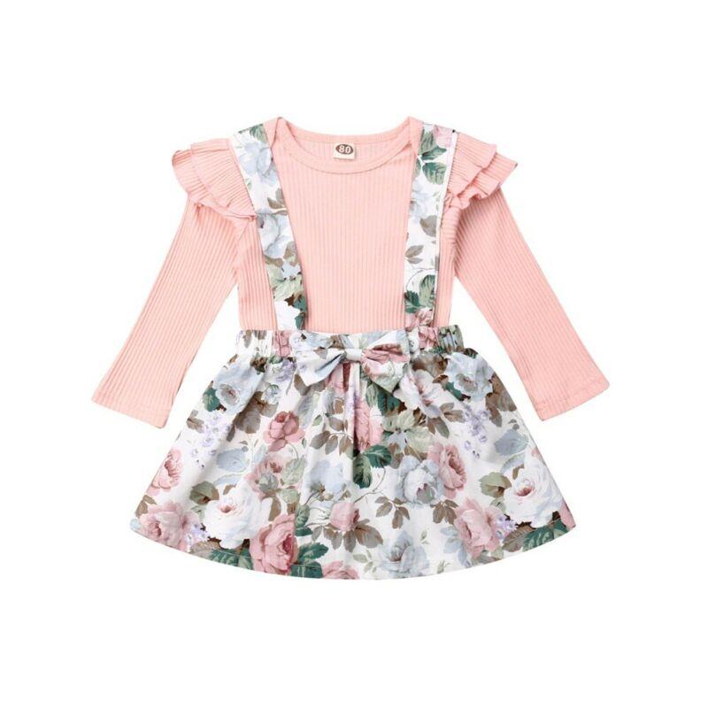 Conjunto de ropa de bebé niña de 3 a 24M, Tops de punto de manga larga de otoño + faldas con tutú de flores, trajes para niñas bebés