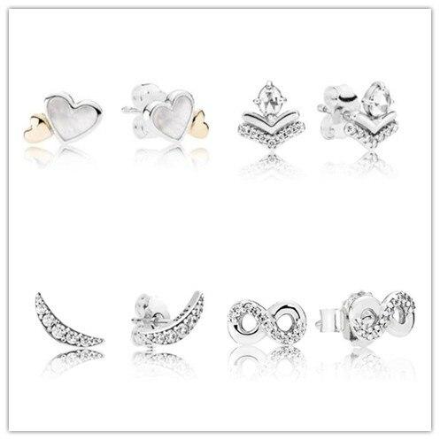 Pendientes de plata de ley 925 luna creciente brillante con tachuelas de cristal pendientes para mujer regalo de boda Pandora joyería