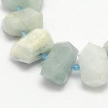 Perles PandaHall naturel aqua-marine pépites de perles fabrication de bijoux Bracelet accessoires bricolage artisanat environ 22 ~ 27 pièces/brin F8