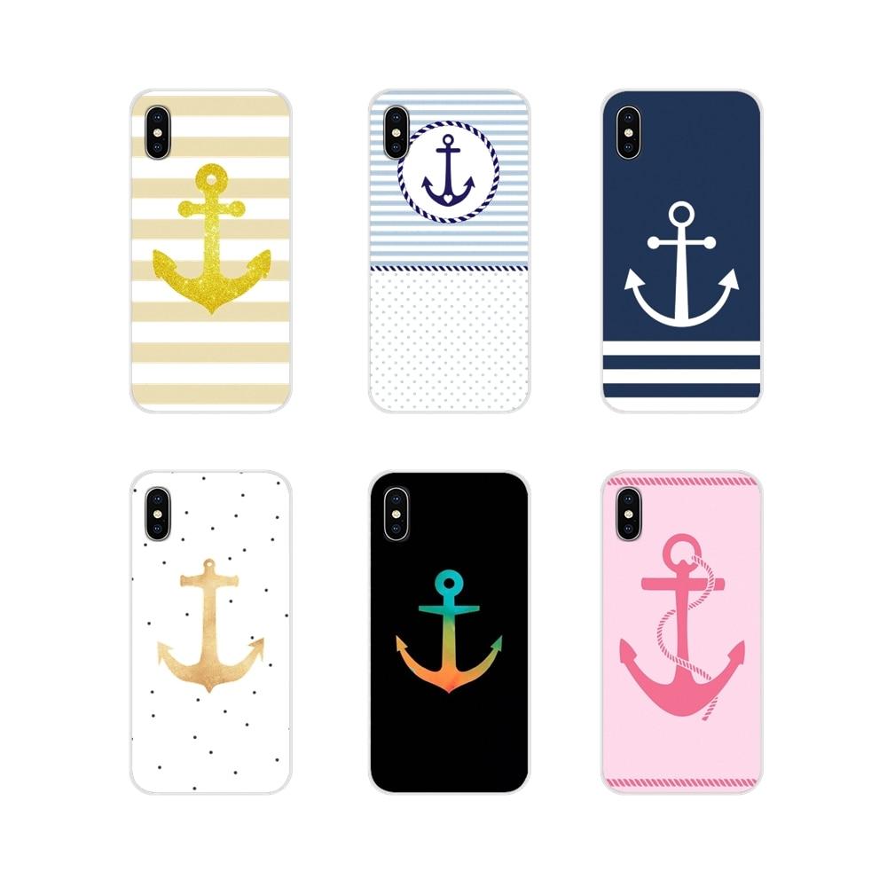 Para iPhone X de Apple XR XS 11Pro MAX 4S 5S 5C SE 6 6S 7 7 Plus ipod touch 5 6 transparente funda de piel suave ancla barco azul corazón banda