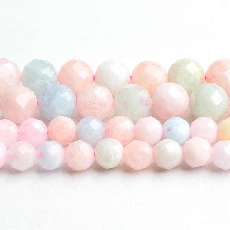 Aaa natural colorido morganite gemas contas de pedra 6mm 8mm facetado contas para fazer jóias diy pulseira colar 7 strand strand strand