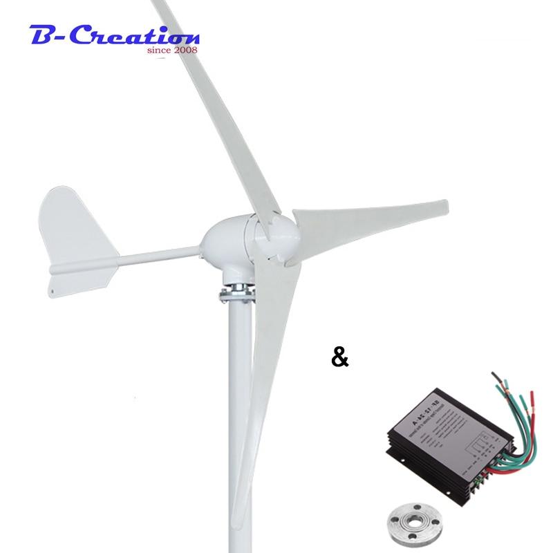 Горизонтальный ветряной генератор, 500 Вт, 12 В/24 В/48 В, 3/5 лопастей, ветряная мельница для домашнего использования + 600 Вт Водонепроницаемый Кон...