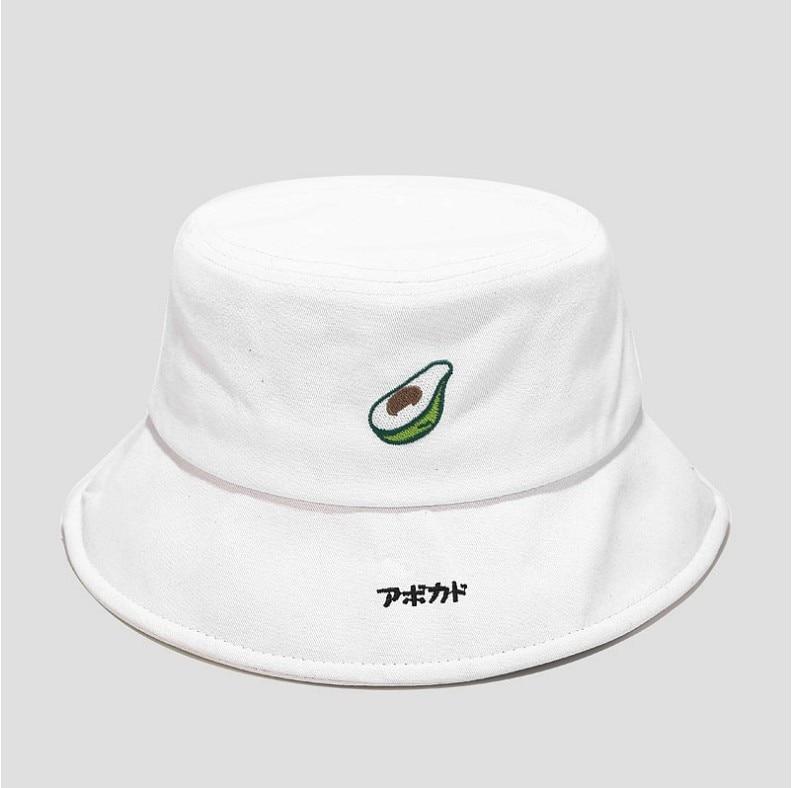 Sombrero de cubo de aguacate bordado fruta Bob Cap Hip Hop Gorros hombres mujeres verano gorras Playa Sol pesca Panamá sombrero