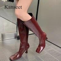 kanseet women long boots 2021 modern boots autumn winter thin high heel shoes square toe women knee high boots black big size 40