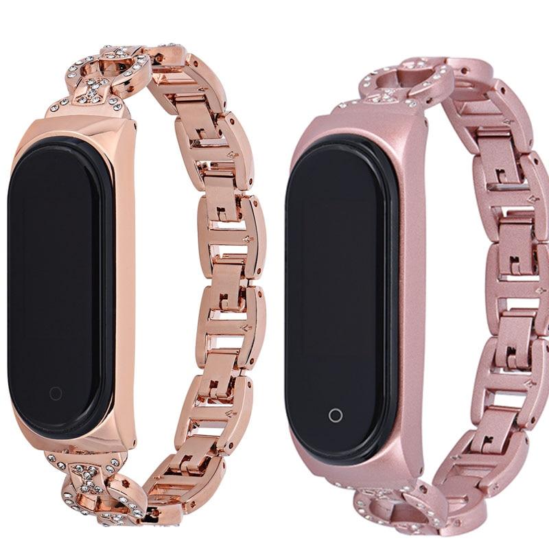 Gran venta para Xiaomi MiBand 4 correa de repuesto diamante Acero inoxidable pulsera inteligente Mi Band 3 para mujeres