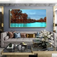 landscape oil painting autumn mountain river red leaf art canvas painting living room corridor office home decoration mural