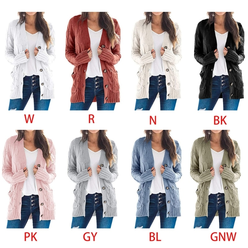 Women Long Sleeve Cardigan Single-Breasted Sweater Solid Cable Knit Outwear Coat enlarge