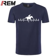 REM Its In My HeartBeat equitación camiseta Jockey camiseta caballo Racinger corazón Top verano Casual Hombre camiseta buena calidad