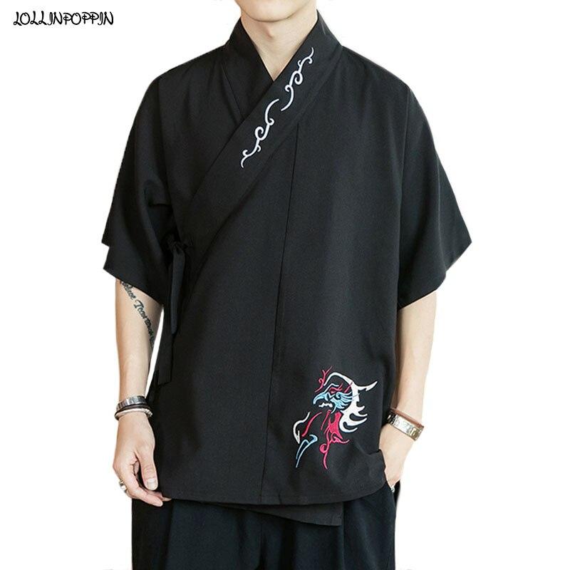 قميص رجالي على الطراز الصيني التقليدي ، ياقة اليوسفي ، أكمام قصيرة ، تطريز Hanfu ، أسود/أبيض