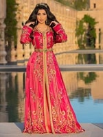 moroccan kaftan prom formal v neck gold applique a line floor length saudi arab muslim party gown islamic special occasion gown