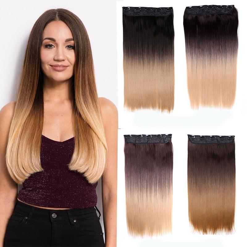 Заколка Омбре для наращивания волос, натуральные волосы, искусственные шиньоны, 5 заколок для наращивания волос, Длинные Прямые Синтетические накладки для женщин