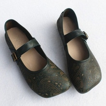 Women's Shoes Flat Square toe Women Ballet Flats 100% Genuine Leather Ladies Flat Shoes Pattern Woman Ballerina Shoe