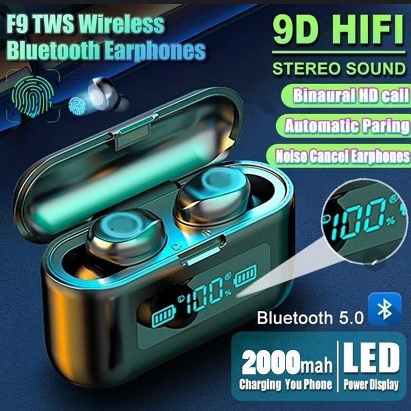 Auriculares inalámbricos F9 con Bluetooth 5,0, cascos deportivos impermeables con estuche de...