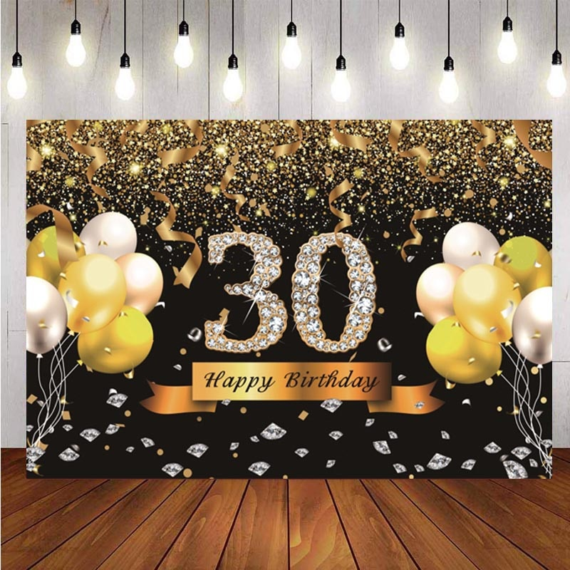 Happy 30th Birthday Backdrop Black Gold Diamand Mens Party Photography Background Photo Studio Decorations Supplies independence day firecracker birthday backdrop 4th of july first birthday party photo background cake table decorations supplies