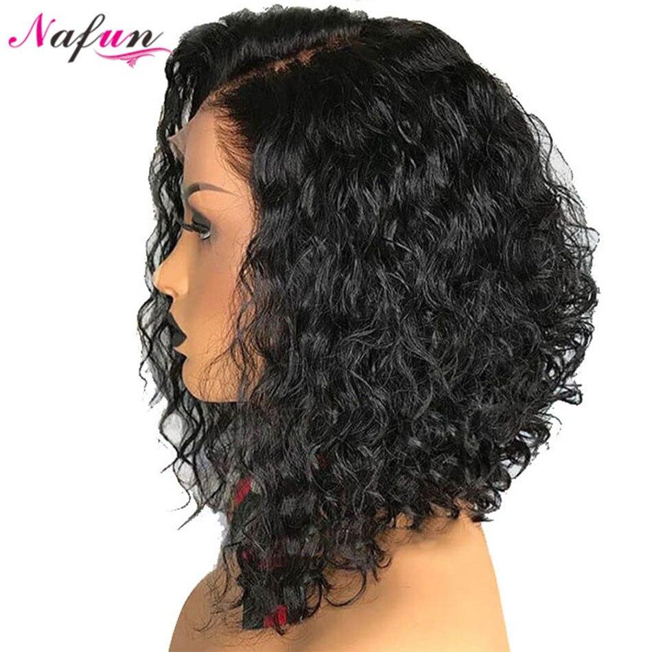 Nafun13x4 pelucas de cabello humano con encaje frontal, peluca rizada no Remy peruana, pelucas frontal de encaje Bob, relación media del 150% de densidad