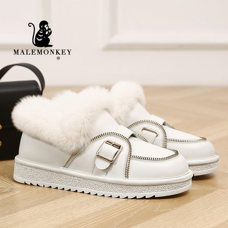 High Quality Boots Women Leather Cotton Shoes Black 2021 Winter Warm Natural Rabbit Fur Shoes Comfor