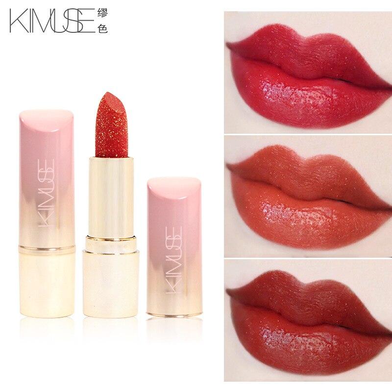 Nuevo KIMUSE brillo rojo nutritivo lápiz labial hoja de oro maquillaje impermeable pigmento de larga duración pintalabios 3 colores cosméticos naturales