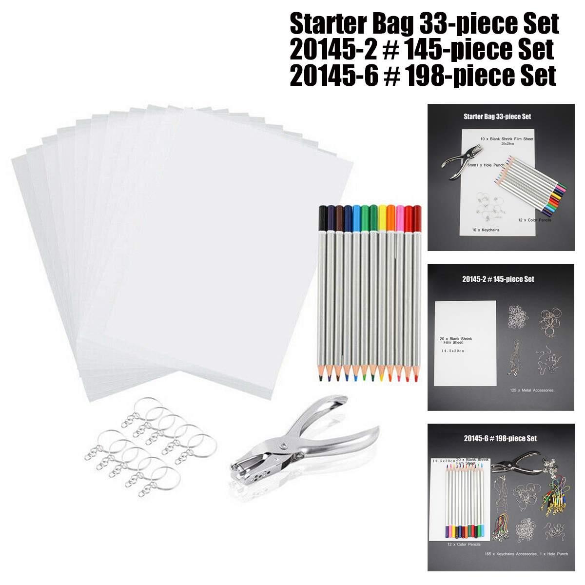 33/145/198PCS Heat Shrink Sheet Plastic Kit Hole Punch Keychains Pencils Shrinky Art Paper Set DIY Drawing Art Embossing Tool