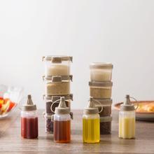 4 Uds Mini portátil condimento caja de mermelada botella de apretón botella de traje barbacoa salsa para condimentar botella de cocina transparente tarro de especias