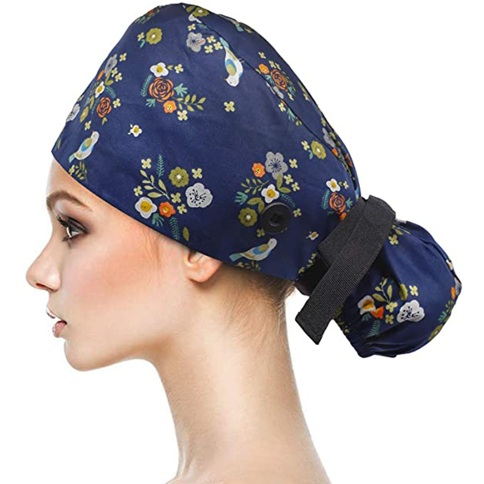 Colors Unisex Adjustable Working Scrubs Cap With Buttons Bouffant Hat With Sweatband For Womens And Mens Bouffant Hat Head Scarf